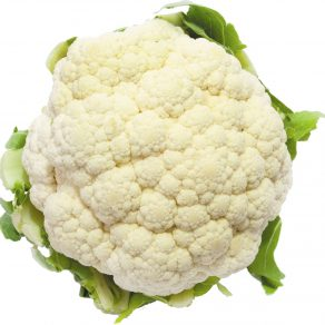 Head of fresh cauliflower on a white background.